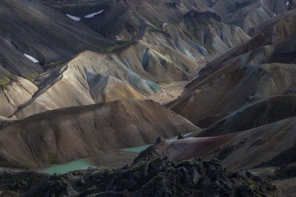 farbige Rhyolith Berge von Landmannalaugar, Island, Europa